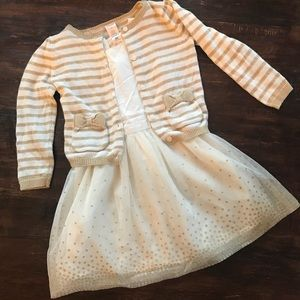 Gold and ivory dress with coordinating sweater